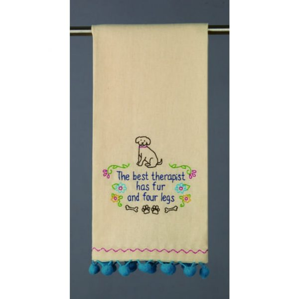 THE BEST THERAPIST HAS FUR AND FOUR LEGS DOG TOWEL