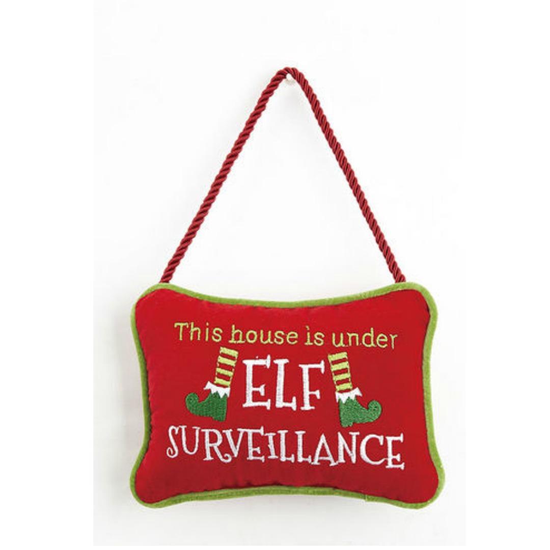 this house is under elf surveillance door hanger magpies gifts