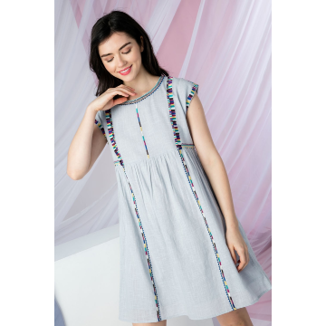 THML LIGHT BLUE EMBROIDERED CAP SLEEVE DRESS