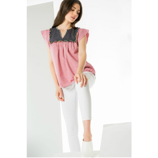 THML RED FLUTTER SLEEVE TOP
