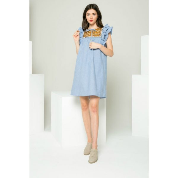 THML RUFFLE SLEEVE DRESS WITH PRINTED BIB