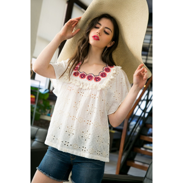 THML WHITE EYELET EMBROIDERED TOP