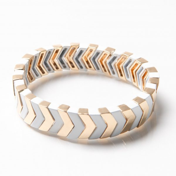 TILE BEAD BRACELET - GOLD/WHITE CHEVRON