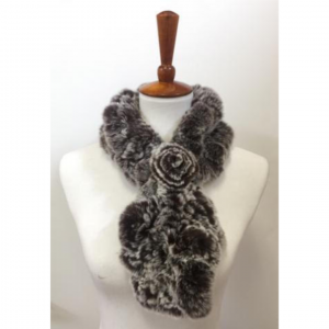 TOURANCE RABBIT FUR DUO TONE SCARF