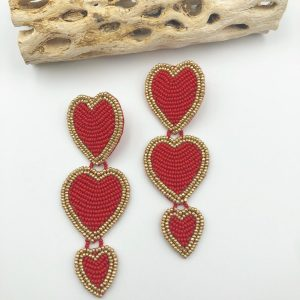TRIPLE RED HEART EARRINGS