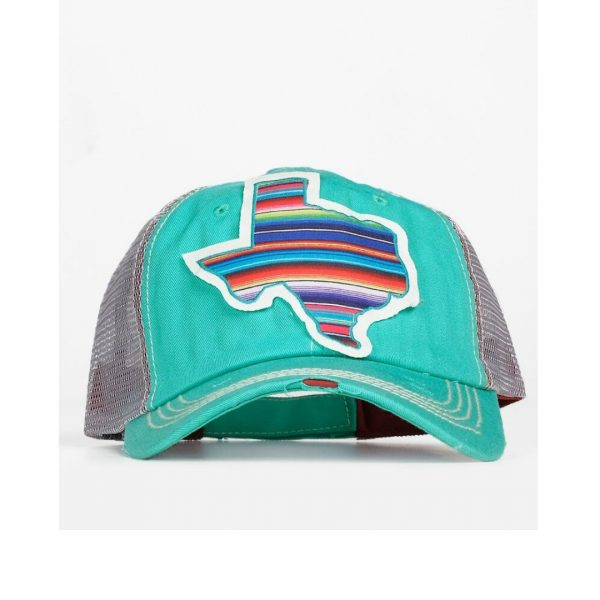 TURQUOISE SERAPE TEXAS PATCH HAT