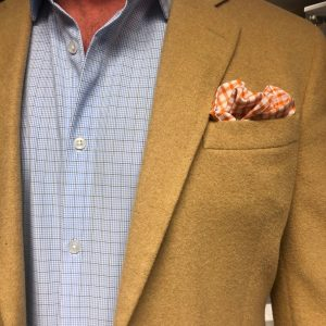 UMBER & WHITE POCKET SQUARE