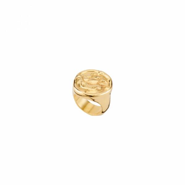 UNO DE 50 NAVY RING IN GOLD