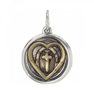 WAXING POETIC WING AND PRAYER HEART AND CROSS CHARM