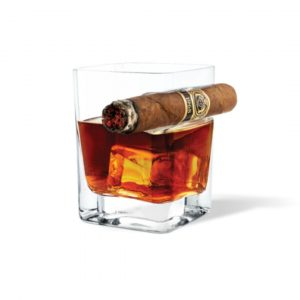 CORKCICLE WHISKEY GLASS WITH CIGAR HOLDER
