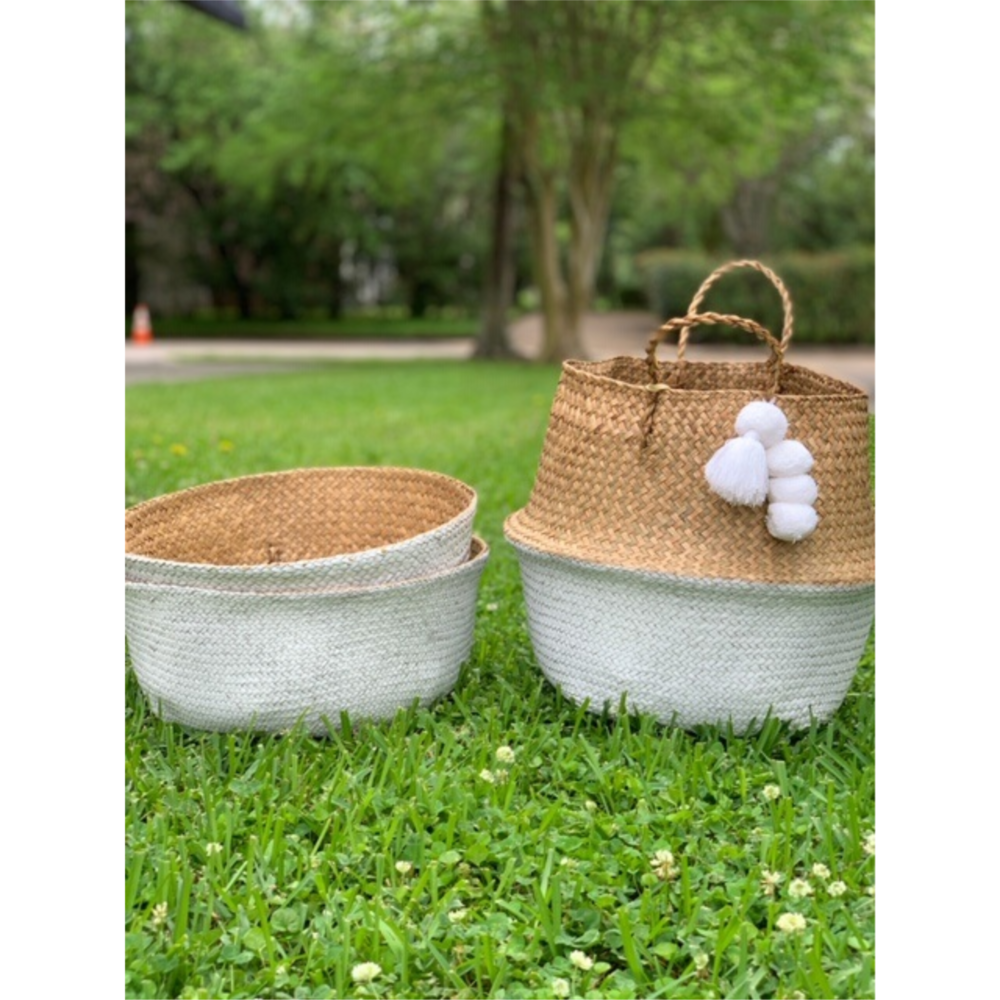 MUDPIE WHITE COLLAPSABLE BASKETS