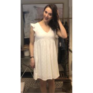 WHITE EYELET MINI DRESS