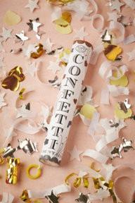WHITE GOLD AND SILVER CONFETTI FOUNTAIN