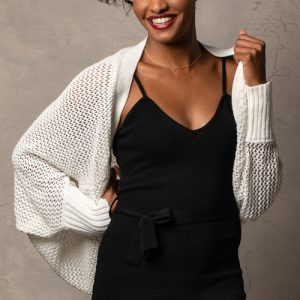 WHITE OPEN KNIT COCOON