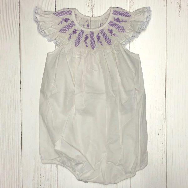 WHITE SMOCKED ANGEL SLEEVE BUBBLE
