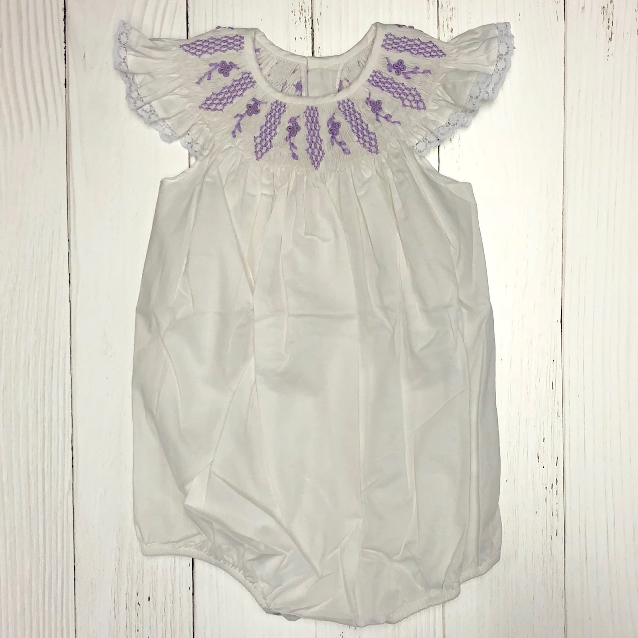 WHITE SMOCKED ANGEL SLEEVE BUBBLE