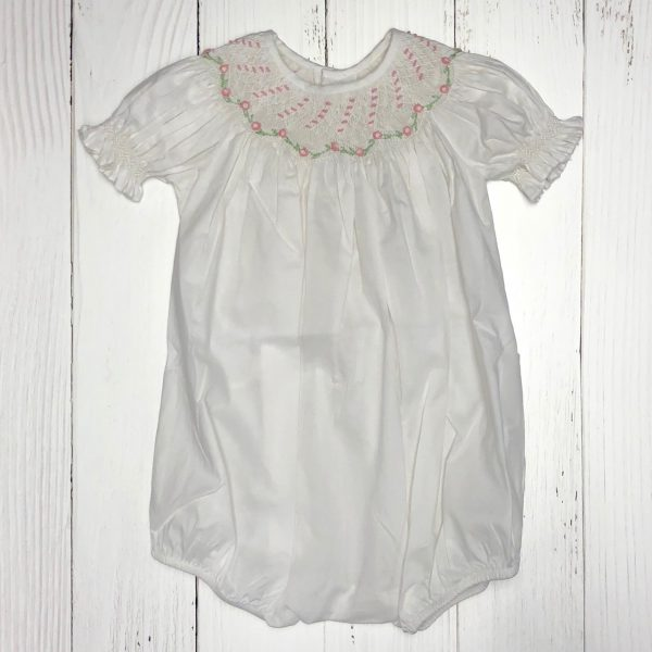 WHITE SMOCKED SHORT SLEEVE BUBBLE