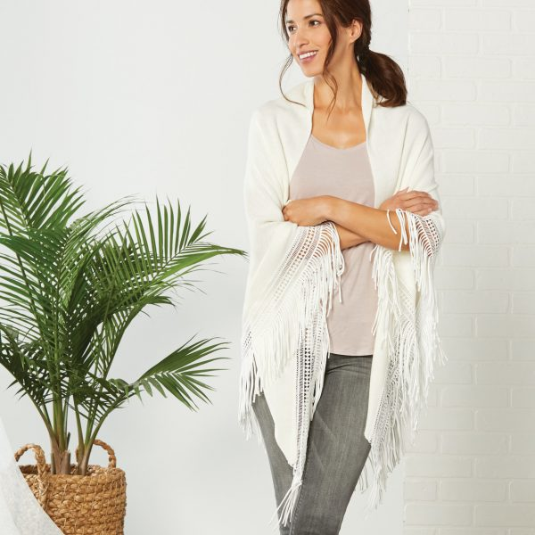 WHITE TRIANGLE KNIT SCARF WITH FRINGE