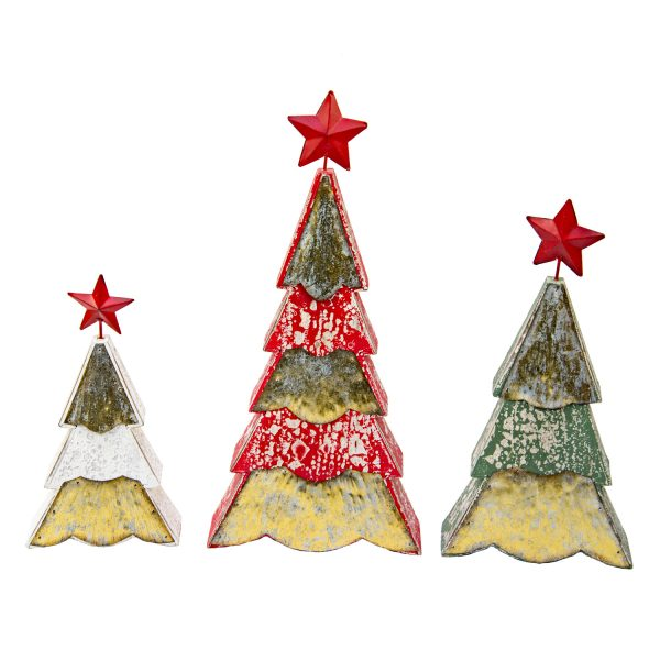 WOOD MERRY RED STAR TREES