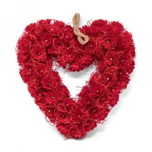"WOODCHIP HEART WREATH - 15"""