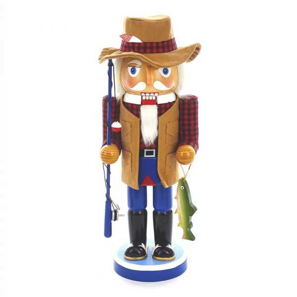 WOODEN FISHING MAN NUTCRACKER