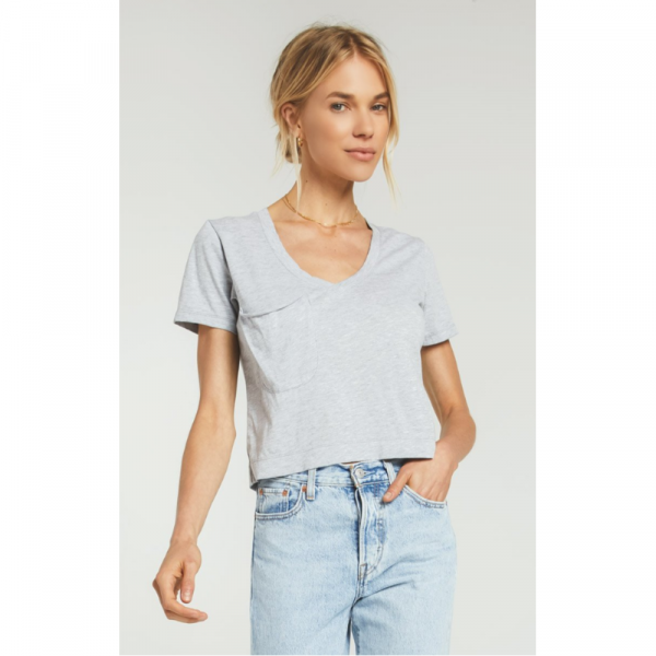 Z SUPPLY HEATHER GREY CLASSIC SKIMMER CROP TEE
