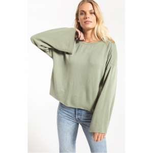Z SUPPLY THE GREEN FLEECE FLARE PULLOVER