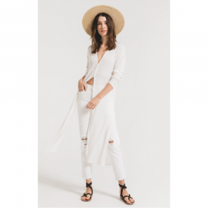 Z SUPPLY WHITE TEXTURED RIB DUSTER CARDIGAN