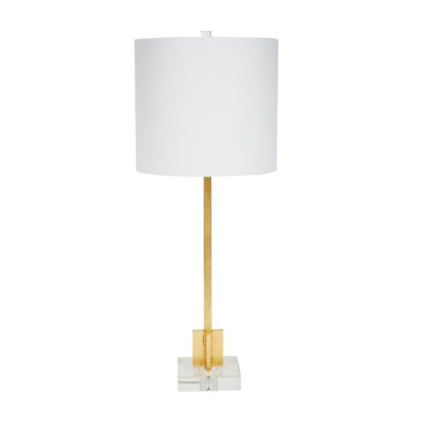 ABITA GOLD LEAF BUFFET LAMP WITH CRYSTAL BASE & WHITE LINEN SHADE