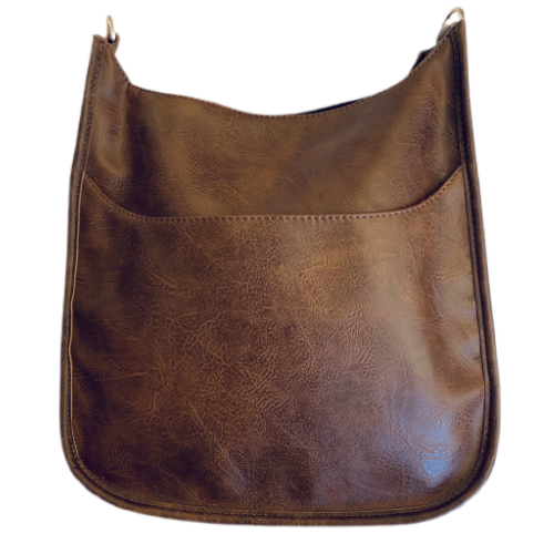 AHDORNED COFFEE VEGAN MESSENGER BAG WITH GOLD HARDWARE
