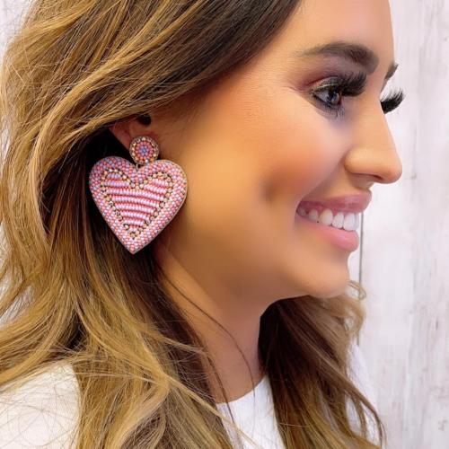 AMOURE PINK HEART EARRINGS