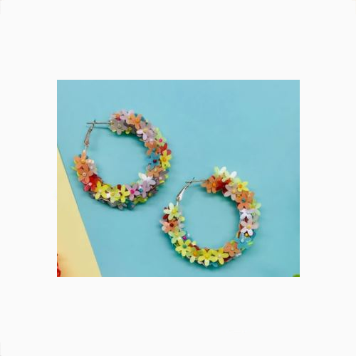 ANCHORAGE MULTI FLOWER HOOP EARRINGS
