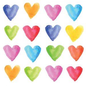 AQUARREL HEARTS BEVERAGE NAPKINS
