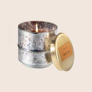 AROMATIQUE SMALL METALLIC PUMPKIN SPICE GLASS CANDLE