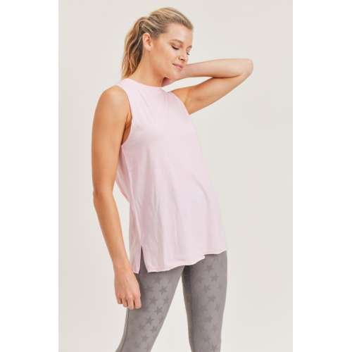 BALLET PINK GATHERED BACK FLOW TANK