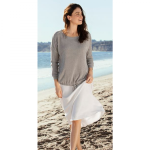 BAREFOOT DREAMS COZYCHIC ULTRA LITE SLOUCHY PULLOVER IN BEACH ROCK