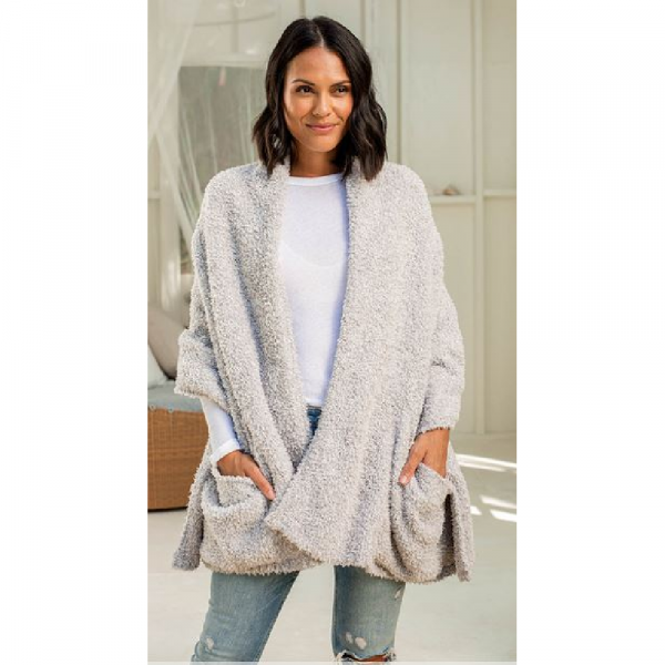 BAREFOOT DREAMS COZYCHIC TRAVEL SHAWL IN OYSTER