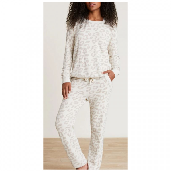 BAREFOOT DREAMS COZYCHIC ULTRA LITE BAREFOOT IN THE WILD TRACK PANT- CREAM/STONE