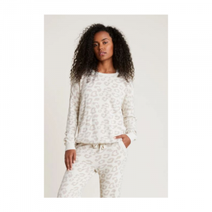 BAREFOOT DREAMS COZYCHIC ULTRA LITE SLOUCHY BAREFOOT IN THE WILD PULLOVER- CREAM/STONE