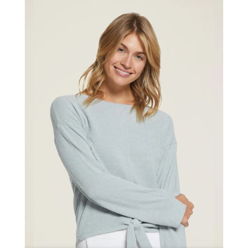 BAREFOOT DREAMS COZYCHIC ULTRA LITE TIE-FRONT TOP IN BLUE WATER