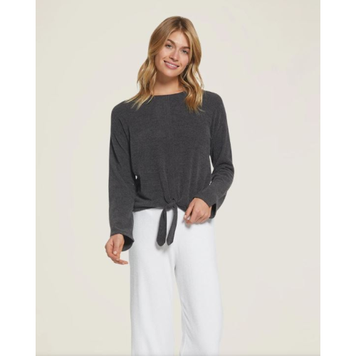 BAREFOOT DREAMS COZYCHIC ULTRA LITE TIE-FRONT TOP IN CARBON