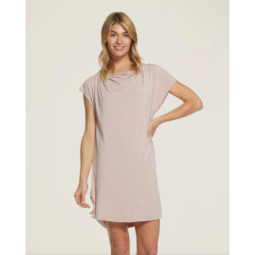 BAREFOOT DREAMS LUXE MILK JERSEY FADED ROSE COWL NECK NIGHTSHIRT