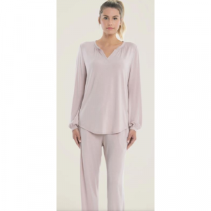 BAREFOOT DREAMS LUXE MILK JERSEY NAMASTE LOUNGE SET-FADED ROSE