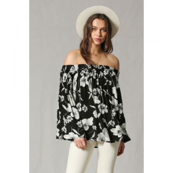 BLACK AND WHITE FLORAL OFF THE SHOULDER TOP