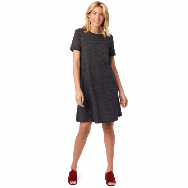 BLACK ECO FLARE T SHIRT DRESS