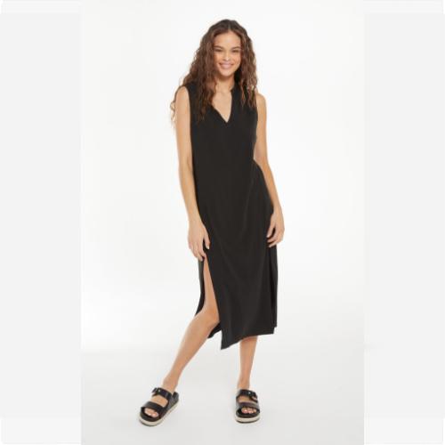 BLACK TAWNEY NOTCH FRONT DRESS