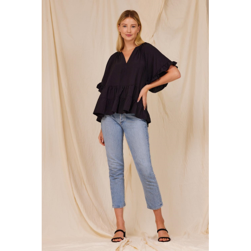 BLACK TIERED SWING BLOUSE
