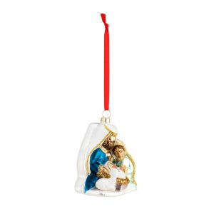 BLOWN GLASS HOLY FAMILY ORNAMENT