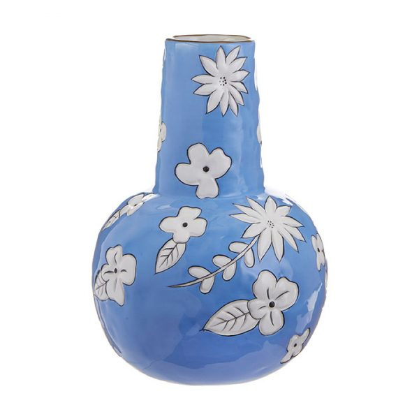 BLUE AND WHITE FLORAL PRINT VASE