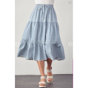 BLUE GINGHAM TIERED SKIRT